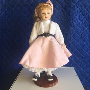 50s Porcelain Doll in Poodle Skirt - Avon Collect